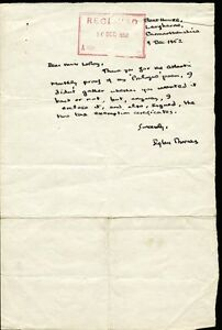 DYLAN THOMAS - AUTOGRAPH LETTER SIGNED 12091952