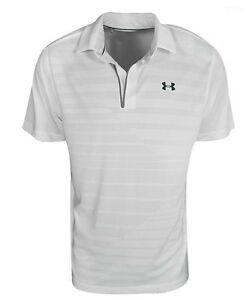 New Under Armour Golf- CoolSwitch Jacquard Polo White Large UM1334000
