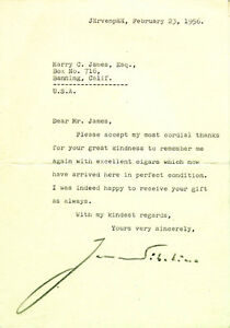 JEAN SIBELIUS - TYPED LETTER SIGNED 02231956
