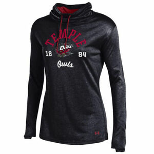 Temple Owls Under Armour Women's Grainy Tech Cowl Neck Hoodie - Black - NCAA