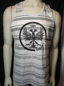 GUESS mens white crew neck tank shirt with guess front logo new nwt $24.99
