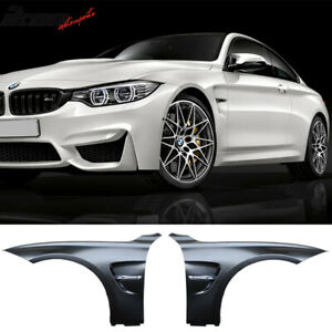 Fits 12-18 F30 M3 M4 Style Metal Fenders + Chrome Side Vent Unpainted