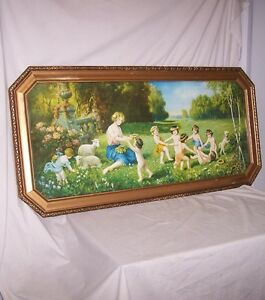 Colorful Antique Print of Children and Woman Playing Games in Meadow