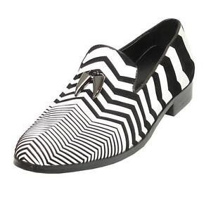Men's Fiesso White Black Suede Zebra Design Slip On Cap Toe Dress Shoes FI 6945