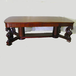 Antique Mahogany Griffon Conference Office Table Large Desk Fancy