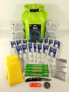 BOAT EMERGENCY SURVIVAL KIT 4 PERSON 2 DAYS DITCH BAG FAMILY EVACUATION. BOB