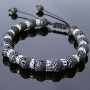 Men's Braided Bracelet 8mm Lava Rock Sterling Silver Buddhism Spacers DIY-K 860M