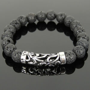 Men's Bracelet 10mm Lava Rock 925 Stamp Sterling Silver Charm DIY-KAREN 945M