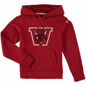 Wisconsin Badgers Under Armour Youth Iconic Performance Hoodie - Red - NCAA