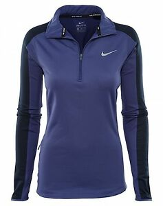 Nike Therma 12 Zip Womens 685810-508 Violet Dri-Fit Running LS Shirt Size M