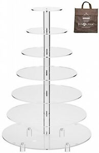 Jusalpha® Large 7-Tier Acrylic Round Wedding Cake Stand Cupcake Stand Tower