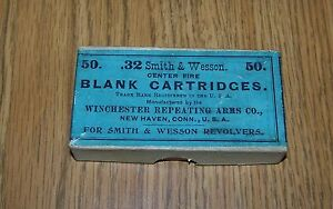 VINTAGE WINCHESTER .32 CALIBER SMITH & WESSON BLANK CARTRIDGE BOX BLUE LABEL