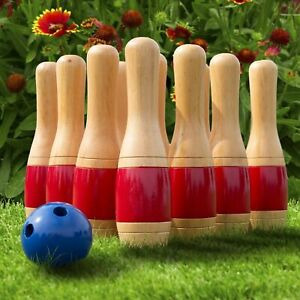 11 Inch Wooden Lawn Bowling Set with Mesh Bag Backyard Family Game $47.99