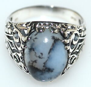 Solid Sterling SILVER Gents Rings Dendrite Opal 925 Mens Ring Size M to Z+5