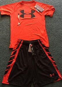 NWT Boys Under Armour S RedBlack BIG LOGO Heat Gear Shorts Set YSM