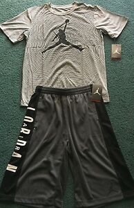 NWT Nike Jordan Boys YXL GrayBlack BIG LOGO Dri-Fit Shorts Set XL