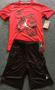 NWT Nike Jordan Boys YSM BlackRedWhite #23 Dri-Fit Shorts Set Small