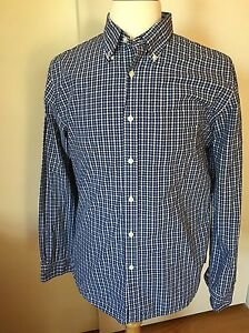 Brooks Brothers Red Fleece Sport Shirt Blue White Checked Gingham Size L