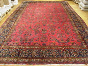 13x21 ANTIQUE PERSIAN SAROUK ORIENTAL RUG Authentic Handmade Area Rug - ORIGINAL