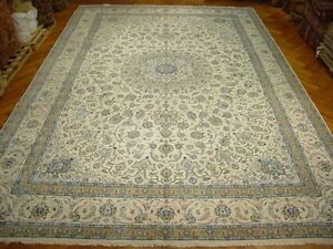 Original 13x19 Persian Nain Rug Handmade In IRAN Silk and Wool Area Rug FINE ART