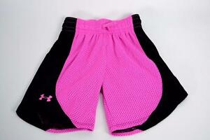 Under Armour Girl's Workout Shorts Heat Gear Loose Exercise Pink Black XS NWT