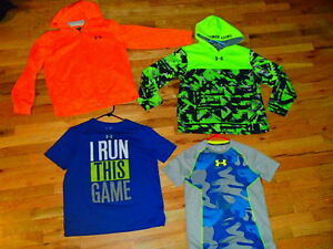lot of 4 neon UNDER ARMOUR loose fit hoody jackets heat gear shirts youth boy xl