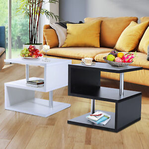 2 Tier Side End Coffee Table Storage Shelves Sofa Couch Living Room Furniture $84.99