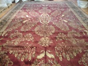 14X24 Large All HANDMADE Area Rug Floral Design from India