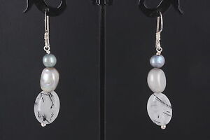 STERLING SILVER DENDRITE STONE EARRINGS 925 FINE 0406B