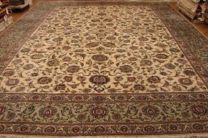Tight Weave 12x17 Original Authentic Ivory Kashan Rug Fine Durable Hand-Knotted