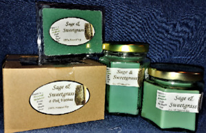 **NEW** Hand Poured Sage & Sweetgrass Soy Candles, Tarts & 4-Pack Votives