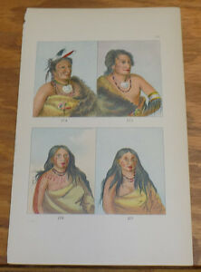 1876 Antique COLOR PrintPORTRAITS OF PAWNEE INDIANSGEORGE CATLIN