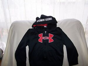 Boys Under Armour Black BIG LOGO Full Zip Hoodie with Pocket's   Size 4T