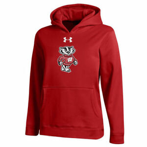 Wisconsin Badgers Under Armour Youth Performance Pullover Hoodie - Red - NCAA