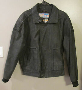 MEMBERS ONLY BLACK SUEDE LEATHER GREAT HORIZON EXPRESS BOMBER JACKET SZ 42