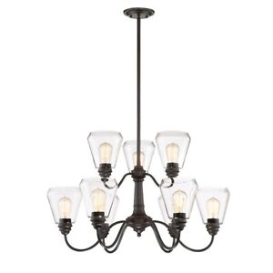 Designers Fountain Foundry 9 Light Chandelier Satin Bronze - 90289-SB