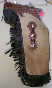 WESTERN REAL HAIR ON LEATHER SADDLE HORSE XX LARGE CHINKS CHAPS  RODEO GYMKHANA