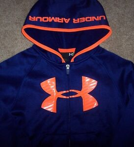 NWT Under Armour Full Zip Caspian ROYAL Blue Hoodie Jacket 44T Boys NEON LOGO