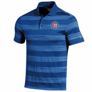 Chicago Cubs Under Armour Skyball Tonal Stripe Polo - Royal - MLB
