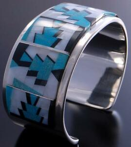 Silver & Turquoise & More Navajo Inlay Design Bracelet Tommy Jackson 7A27N