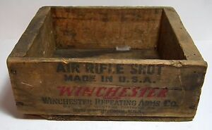 Vintage Winchester Air Rifle Shot Wood Box No.2 Size Tube