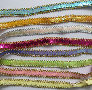 Stunning Sequins Elastic Wave Paillette Laciness Ribbon Beads Trimming Spangle GBP 2.99