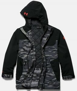UNDER ARMOUR storm ski jacket infrared primaloft insulated camo hoody boys small