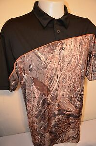 BOO Firethorn Tour Dry Fit Golf Hunting Mossy Oak Duck Blind Camo XL POLO SHIRT