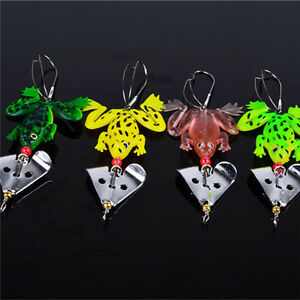 Best Fishing Lures Set 4 Pcs Rubber Soft Frog Bass SpinnerBait Tackle CA