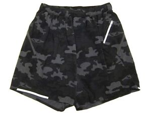 Mens Lululemon Surge Short III w Liner in Camo Black Soot Camouflage sz L