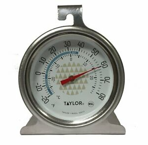 Taylor Stainless Steel Refrigerator Freezer Thermometer for Kitchen C and F