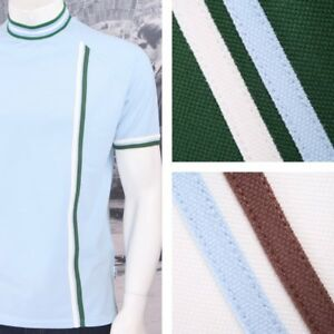 Get Up Turtle Neck All Cotton Pique Racing Stripe SS Retro Sports T-shirt