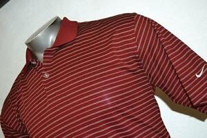 9410-t Mens Nike Golf Polo Shirt Size M Medium Fit Dry Polyester Red