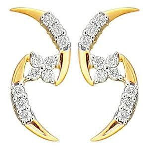For My Love!! 0.48ct Diamond Gold Amazing Cute Gorgeous Wedding Earrings